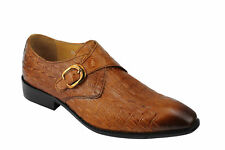 Mens Real 2 Tone Leather Monk Strap Crocodile Skin Effect Vintage Shoes
