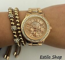 Geneva Chronograph Designer Style Ladies Women Rhinestone ROSE GOLD SILVER Watch