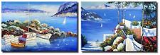 Oil Painting x 2 Pieces - Seascape Oil Paintings on Canvas of Greece Santorini