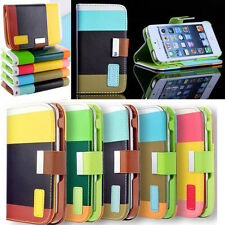 Fashion Hybrid Leather Wallet Flip Pouch Stand Case Cover For iPhone 5S 5C 5 SE