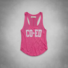 Abercrombie & Fitch Piper Co-Ed Tank Top Womens Pink Cropped Tee Shirt New NWT