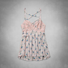 Abercrombie & Fitch Jordan Cami Tank Top Womens Pink Lace Floral Shirt New NWT