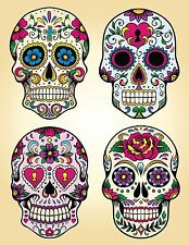 candy sugar skull day of the dead decal vinyl sticker color 4 designs, 5 sizes