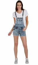 Womens Acid Wash blue Denim Bib Overall Shorts