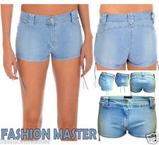 Womens Ladies Snow wash Acid Blue Frayed Distressed Denim Hotpants Shorts 8-14