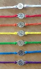 ॐ Sterling Silver Yoga, Om, Chakra Hemp Bracelet. Choose Your Color.