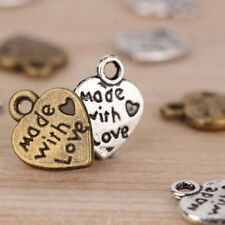 50 pcs Silver/Gold Plated MADE WITH LOVE Heart Charms Pendants Beads DIY EC