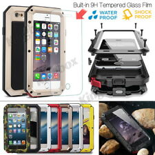 Aluminum Metal Bumper + Tempered Glass Film Shockproof Case For iPhone Series