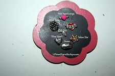 Floating charms for glass locket  Texas Charm, pink gun, rose, heart, queen