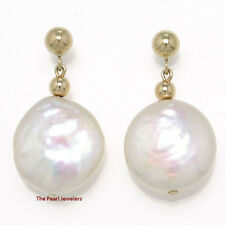 14k Yellow Gold 3mm Ball; Genuine White Coin Cultured Pearl Dangle Earrings TPJ