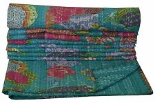 Indian Handmade Kantha Quilt Sea Green Floral Bedspread Blanket Tapestry Throw