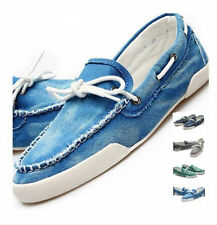 Mens Del Boat Slip On Flats Loafer Jeans Casual Canvas Lace up Shoes Big size