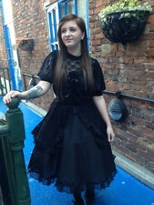 Whitby-Gothic-Cosplay-LARP-Comicon-Victorian-BLACK GOTH LOLITA LACE PROM DRESS