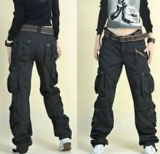 New Womens Military Army dance loose Cargo Pocket Pants Outdoor Leisure Trousers