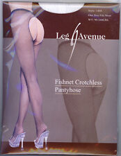 Crotchless Fishnet Pantyhose Leg Avenue 1404 O/S Queen Black White Red
