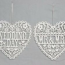 Gisela Graham White Wooden Wedding hanging Heart Decoration Mr & Mrs or Wedding