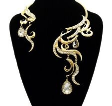 Gold Crystal Collar Necklace with Stud Earrings Set Womens Fashion Jewelry