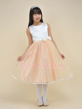Champagne Bowknot Kids Flower Girl Dress Bridesmaid Pageant Party Prom Gown 2-10