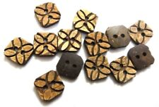 """FLORAL SQUARE 2 Hole COCONUT SHELL Button Sewing Scrapbook 16 mm(5/8th"""") Size 24"""