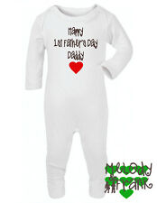 Happy 1st Fathers Day Daddy Baby Grow sleepsuit romper first fathers gift idea
