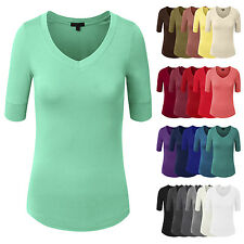 NE PEOPLE Women Light Weight Comfy Elbow Sleeve V Neck Top Shirt 9 Colors NEWT23