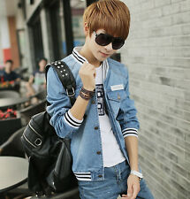 new mens thin spring single breasted baseball jacket fashion denim coat 2 colors