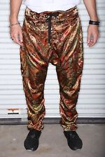 Gold and Red Paisley Print -Mens Drop Crotch / Harem Pants or Joggers -Tailored