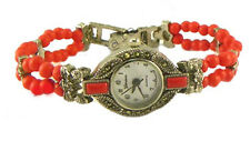 NWT Ladies Beaded Marcasite Watch, Coral Red or Turquoise
