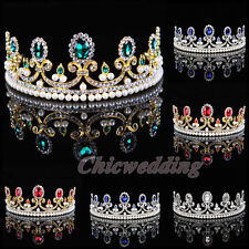 Royal Diamante Crown Crystal Jeweled Tiara Bridal Wedding Hair Accessory Colors