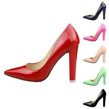 Womens Classic Pointed Toe Chunky High Heels Pump Court Stilettoes Shoes HFAU