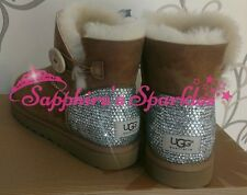 Adults Customised Chestnut Beige Mini Bailey Button Ugg Boots Sizes 4 5 6 7 8