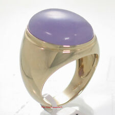 14K SOLID YELLOW GOLD SET A 17X21MM CABOCHON LAVENDER JADE SOLITAIRE MEN'S RING