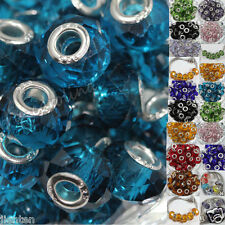 New 5pc Lampwork Glass Spacer Murano Big Hole Bead Fit European Bracelet 14x10mm
