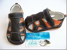 Boys Leather Sandals Black/orange for Toddler Kids Children for age 1 - 5 years