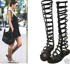 Women Strappy Open Toe Gladiator Zipper Sandals Knee High Boots Flat shoes