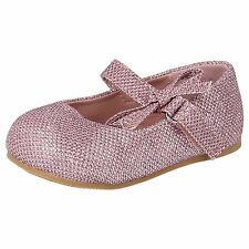 SPOT ON GIRLS PINK GLITTER EFFECT PARTY SHOES WITH BOW- H2304