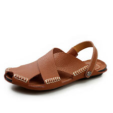 Ankle Wrap Men Fisherman Summer Sandals Handmade Cow Leather SZ US 7-9.5 EU39-44