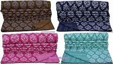 INDIAN KANTHA QUILT REVERSIBLE BEDSPREAD BLANKET ETHNIC THROW TWIN SIZE BEDDING