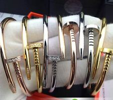 3 Color Stainless Steel Nails Bracelet Bangle+Screw Heads Crystal Women Gift Set