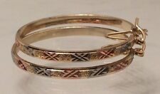 2mm bangle hoop earrings Tri Color, No Stone, V Support, Gold Filled, New Style