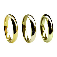 4mm 9ct Yellow Gold Court Comfort Wedding Rings UK HM 375 Med Hvy & X Heavy Band