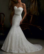 2015 New White lace Wedding dress Bridal Gown stock Size 6 8 10 12 14 16
