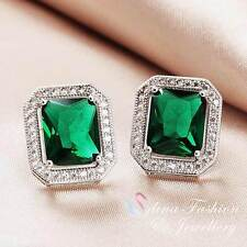 18K White Gold GP Made With Swarovski Crystal Emerald Cut Classic Stud Earrings