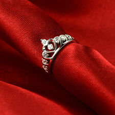 925 Sterling Silver CZ Diamante Top Crown Wedding Finger Ring Princess Queen