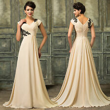 Vintage Long Lace Evening Prom Bridesmaid Dress Formal Chiffon Gown Dresses Plus