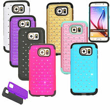 Hybrid Rugged Rubber Bling Crystal Hard Soft Case Cover For Samsung Galaxy S6 SE