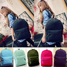 New Women Men Unisex Satchel Backpack Canvas School Hiking Zip Bookbag Bag