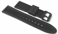 Premium Reversible Black Silicone Rubber Watch Strap + Pvd Buckle. 18 - 24mm