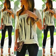 Women's Sexy Short Sleeve Loose White T Shirt Summer Casual Love Tops Blouse