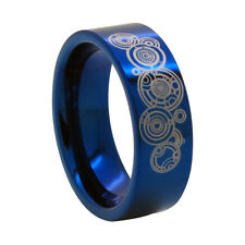 8mm Blue Tungsten Ring w/ Time Lord Symbol - Doctor Who